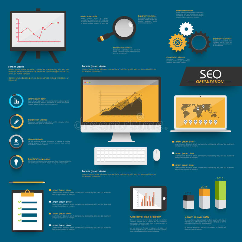 Set of SEO Infographic elements for business. Set of Search Engine Optimization Infographic with digital devices and graphs on blue background royalty free illustration