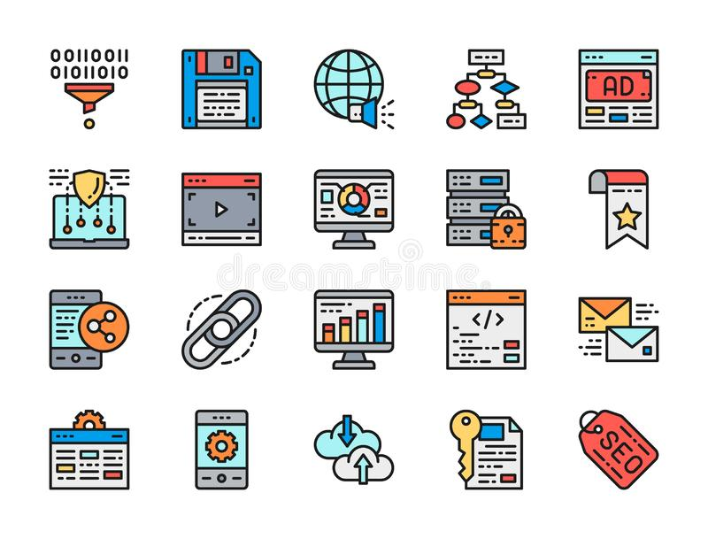 Set of Marketing Flat Color Line Icons. SEO, Hosting, Advertisement and more. royalty free illustration