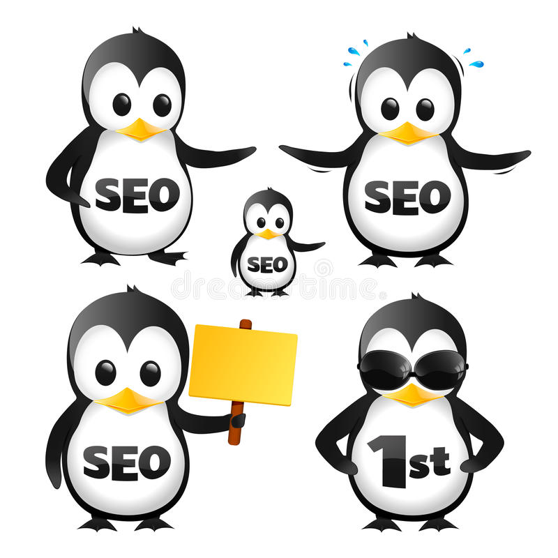 Download Set Of SEO Penguin Mascots stock vector. Image of worried - 33805530