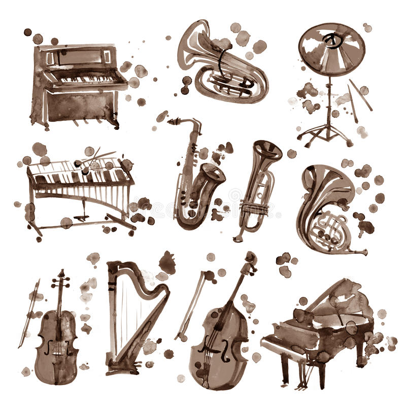 Set of sepia watercolor musical instruments. stock illustration