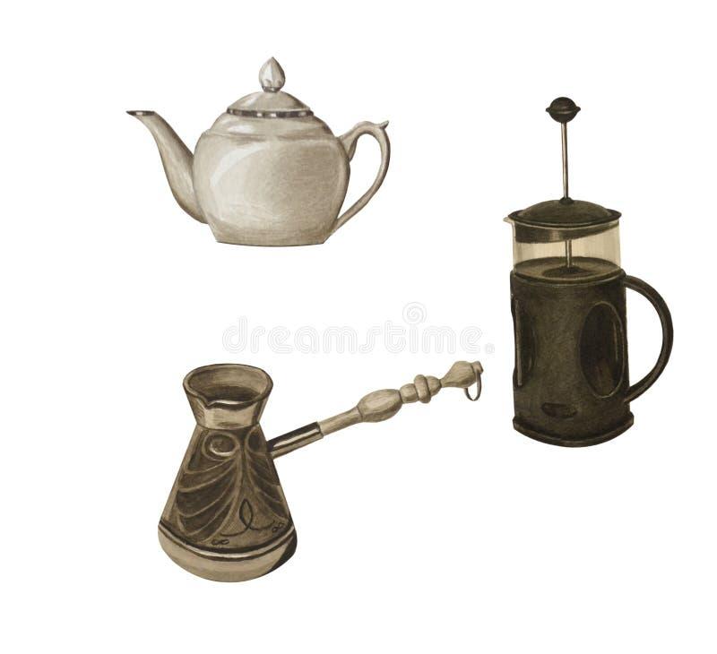 Set sepiowy kolor od różnych teapots i kawowych turków, odizolowywający na bielu fotografia royalty free