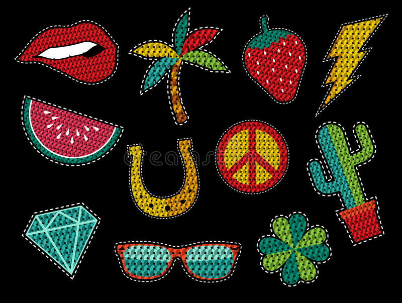 Set of sequin pop art summer patch icons stock illustration