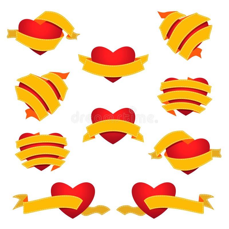 Set serce i faborek yellow obraz stock