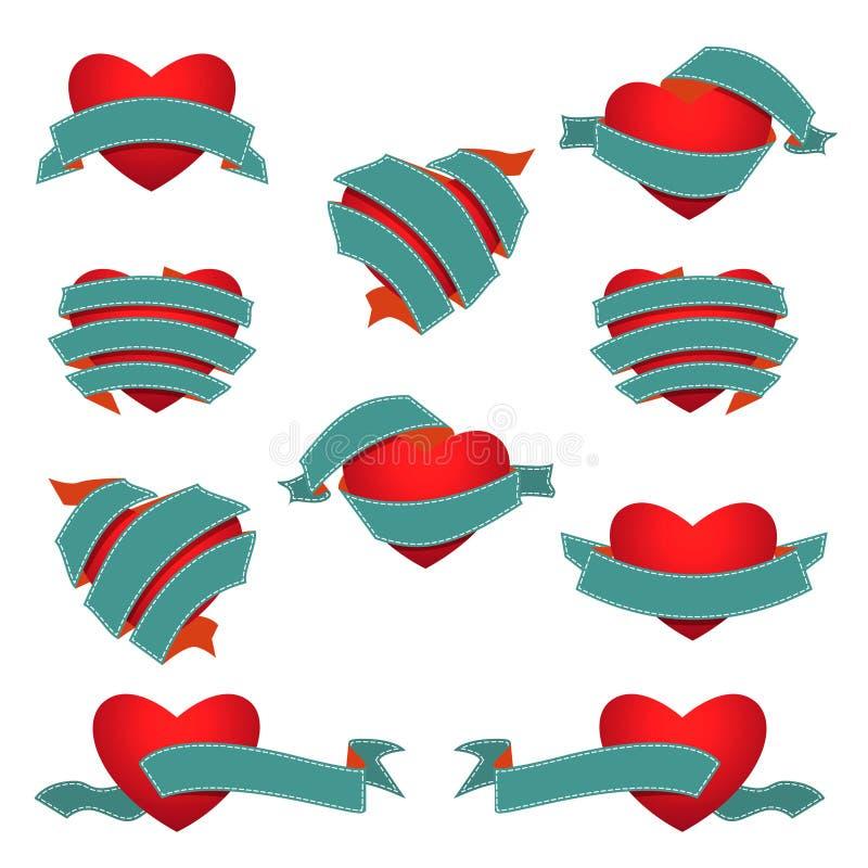 Set serce i faborek Zmrok - błękit obrazy royalty free
