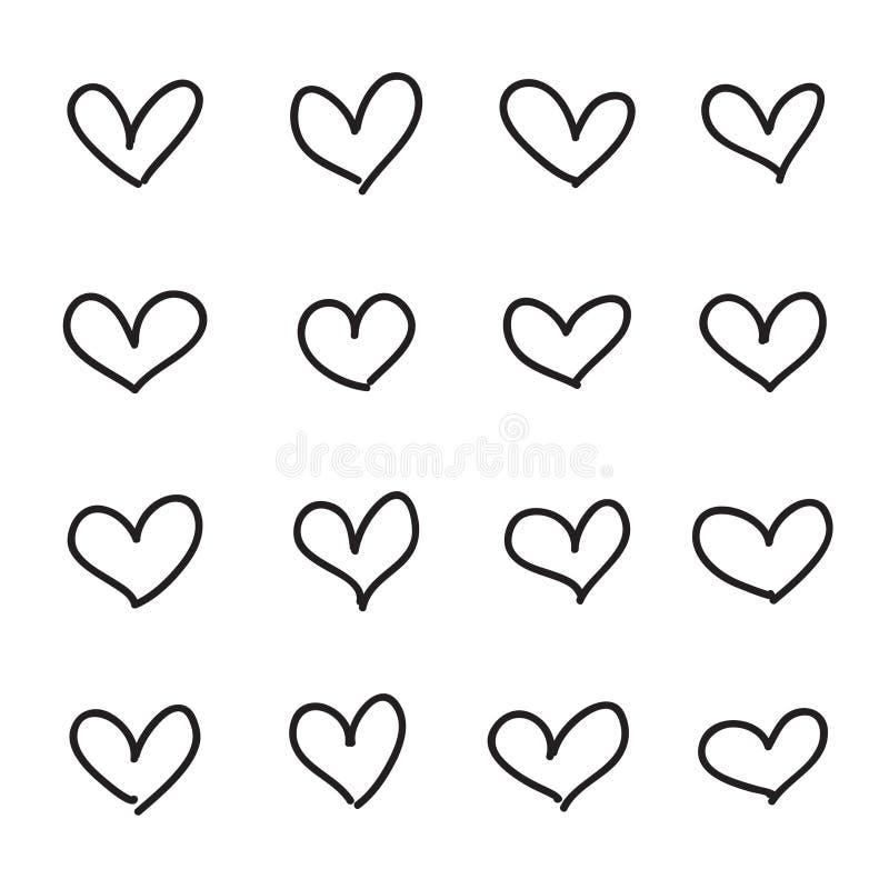 Set serce kształta ręka rysujący symbol ilustracja wektor