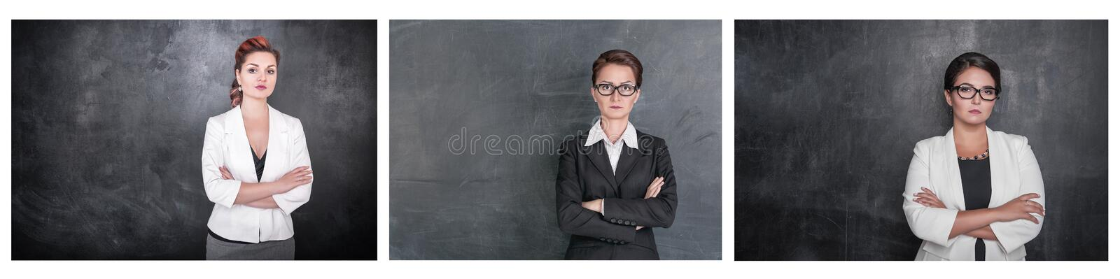 Set of Serious teacher woman looking at you on blackboard royalty free stock photos