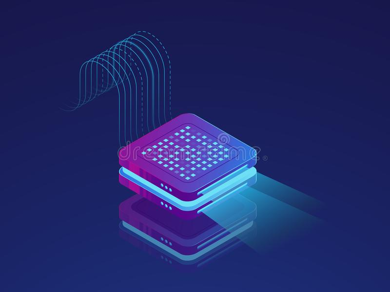 Set of server room icons, data center and database, futuristic data prcessing, cloud storage. Isometric vector dark ultra violet neon stock illustration