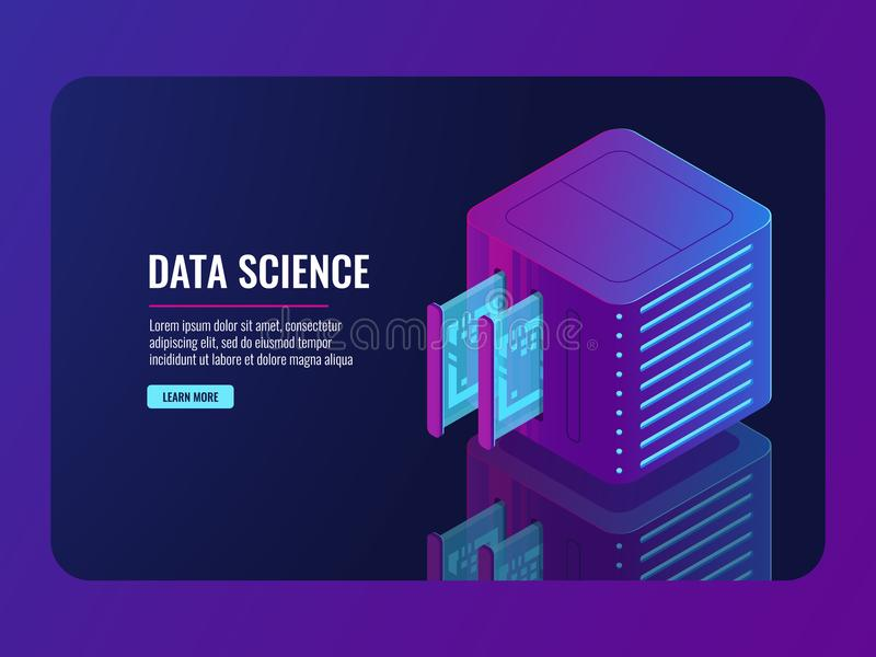 Set of server room icons, data center and database, futuristic data prcessing, cloud storage. Isometric vector dark ultra violet neon royalty free illustration