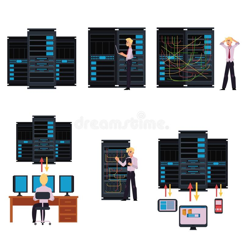 Set of server room images with data center and young system administrator. Set of server room images with data center and young system administrator configuring royalty free illustration