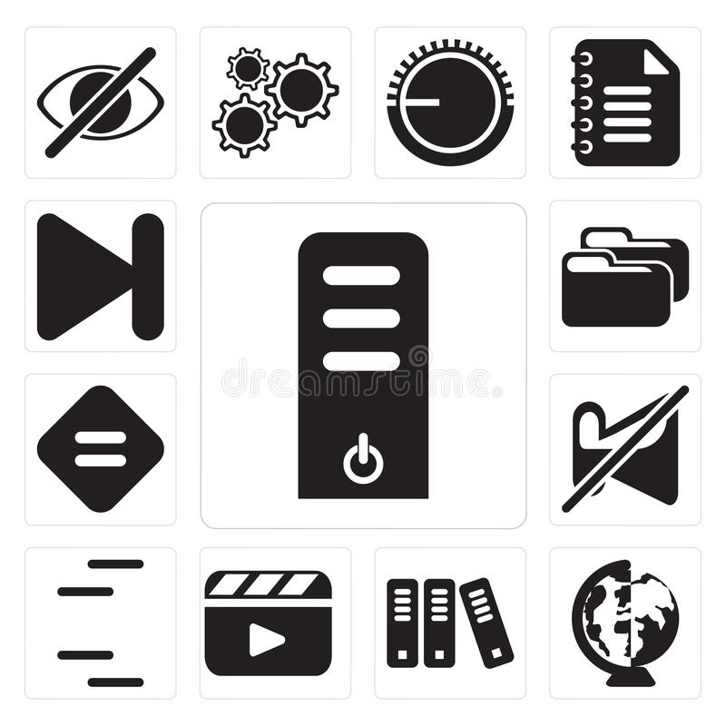 Set of Server, Worldwide, Archive, Video player, Lines, Muted, E. Set Of 13 simple editable icons such as Server, Worldwide, Archive, Video player, Lines, Muted stock illustration