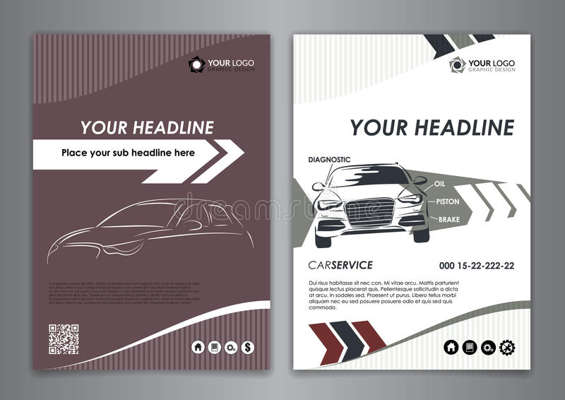 A5 a4 set service car business card templates auto repair leaf download a5 a4 set service car business card templates auto repair leaf stock vector wajeb Image collections