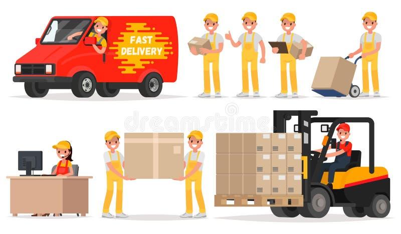 Set of service delivery. Staff: operator, driver, courier, loader stock illustration