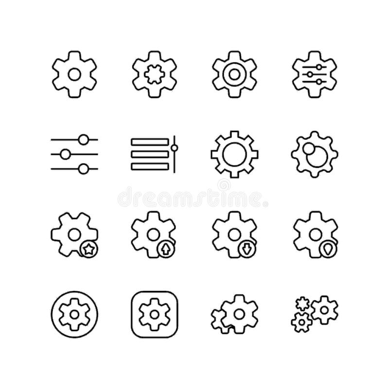 Set of setting line icon design, black outline vector icons, isolated against the white background, gear mark vector illustration. vector illustration