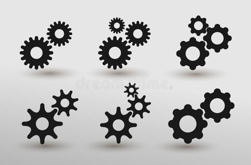 Set Of Settings Gears Icon Vector In Modern Flat Style For Web, Graphic And Mobile Design. Flat Design. Vector Illustration. stock illustration