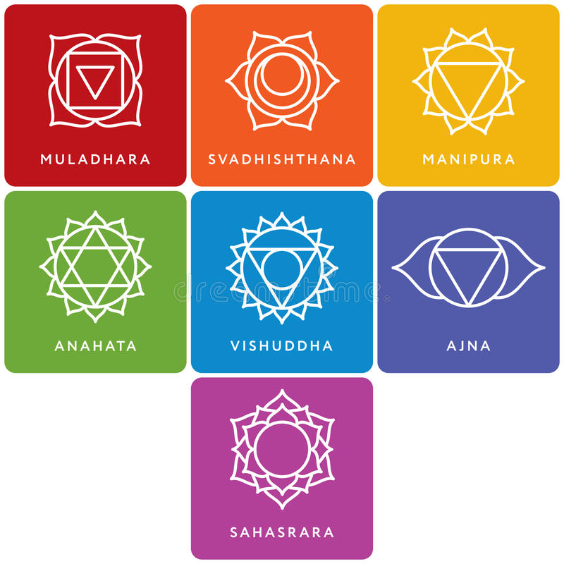 Set of seven chakra symbols with names. Vector vector illustration
