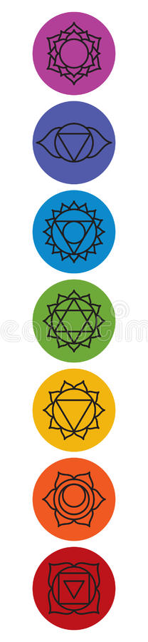 Set of seven chakra symbols. Yoga, meditation royalty free illustration