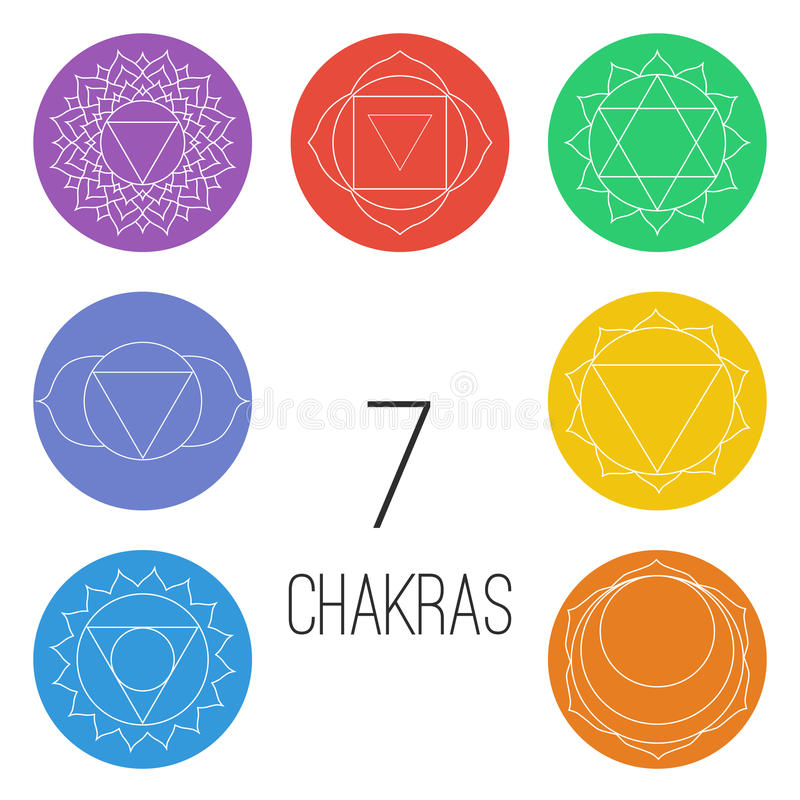 Set of seven chakras on the colorful shapes. Linear character illustration of Hinduism and Buddhism. stock illustration