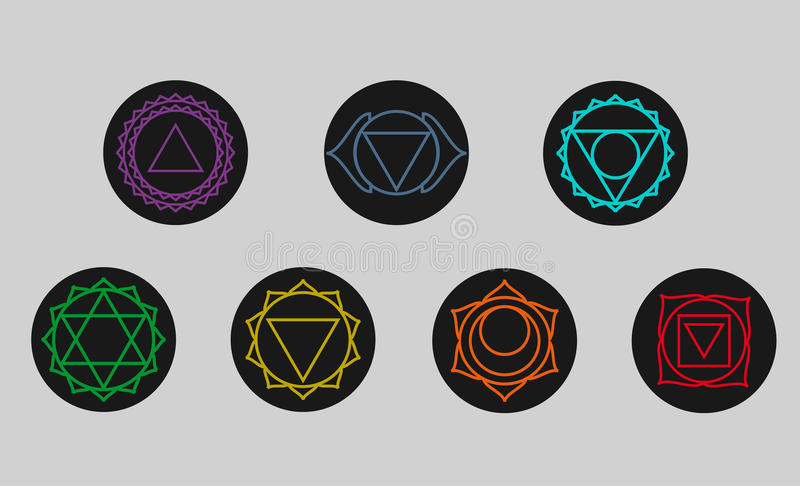 Set of seven chakras icons. Symbols of energy centers. Yoga. Set of seven chakras icons. Yoga,meditation and energy centers simbols.Vector illustration. third vector illustration