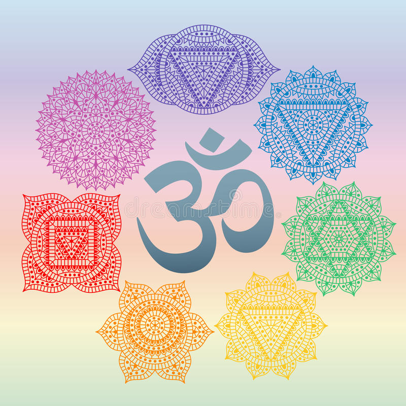Set Of Seven Chakras And Symbol Om In The Centre Oriental Ornaments
