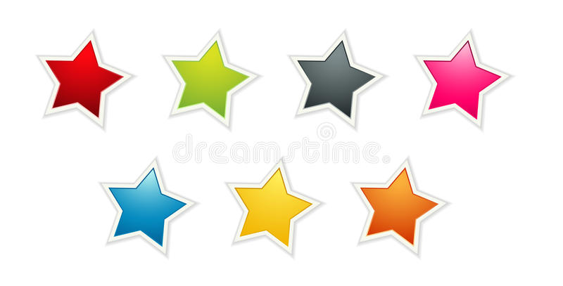 The set of seven color stars royalty free illustration