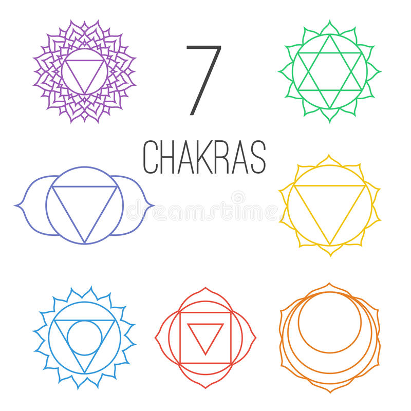Set of seven colorful chakras. Linear character illustration of Hinduism and Buddhism. For design, associated with yoga and India stock illustration