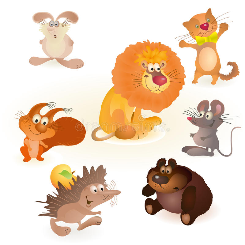 Set of seven funny animals - mouse, rabbit, bear, stock illustration