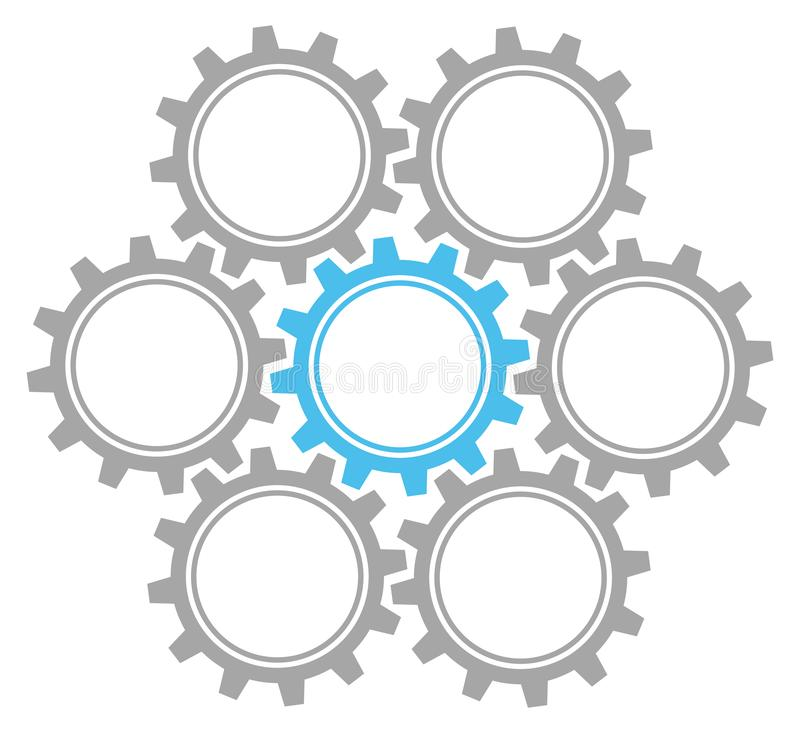 Set Of Seven Graphic Gears Gray And Blue stock illustration