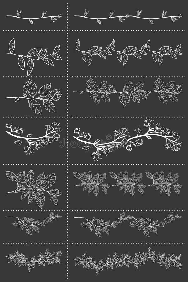 Set of seven hand drawn vector floral elements. vector illustration