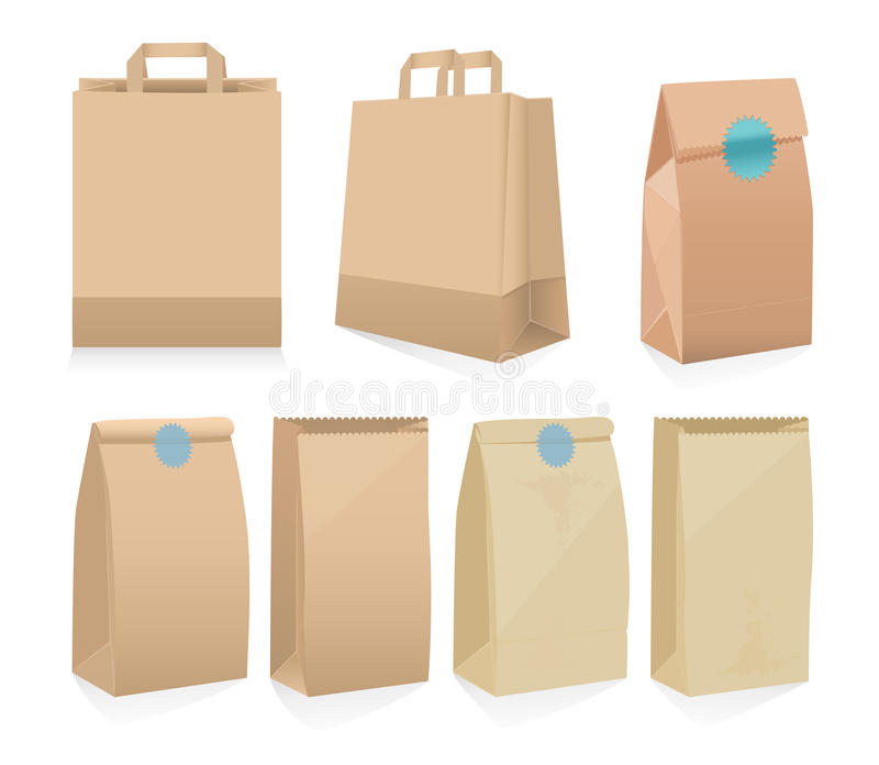 Set of seven recyclable brown paper bags stock illustration