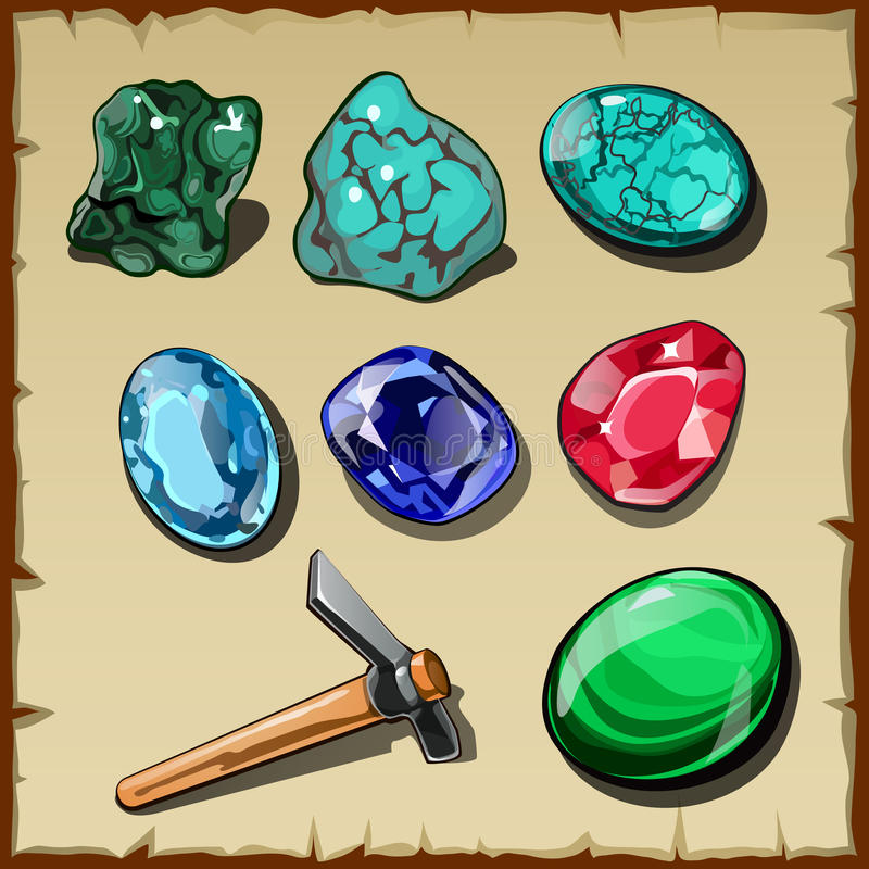 Set Of Seven Types Of Raw Gemstones And Kirk Stock Vector ...