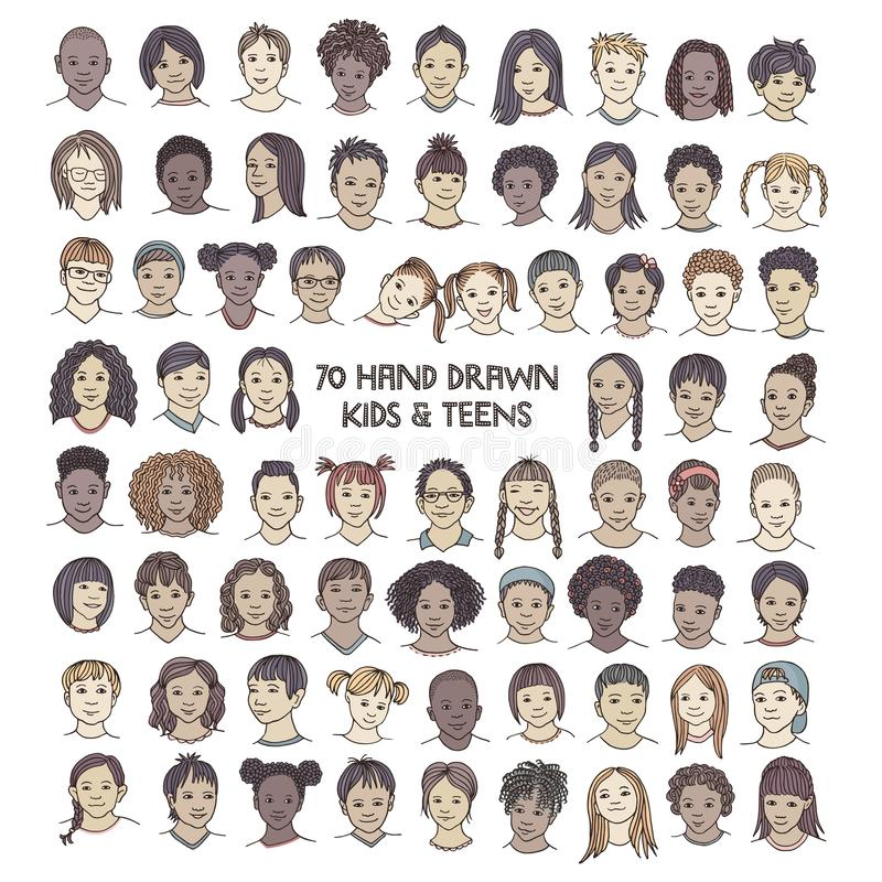 Set of seventy hand drawn children`s faces. Colorful and diverse portraits of kids and teens of different ethnicities vector illustration