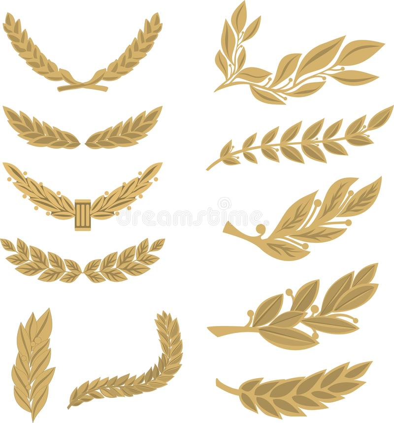 Set of several golden laurel branches royalty free illustration