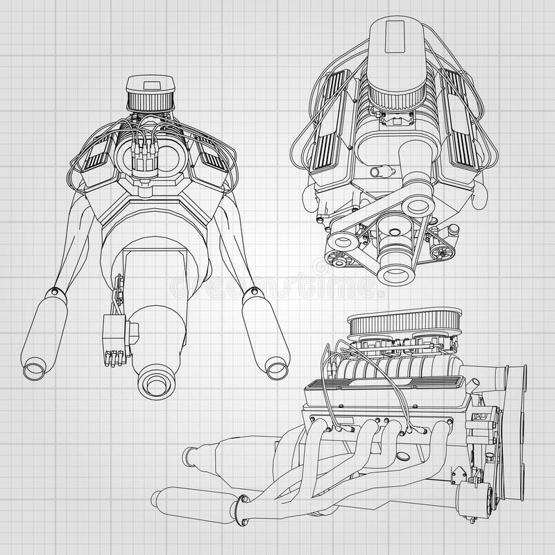 A set of several types of powerful car engine. The engine is drawn with black lines on a white sheet in a cage.  royalty free illustration