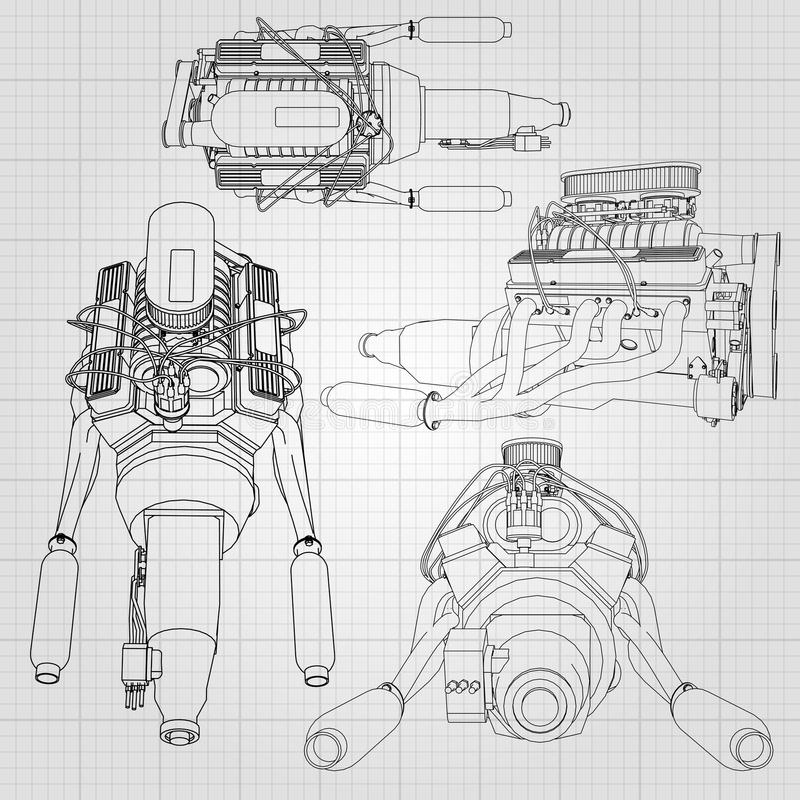 A Set Of Several Types Of Powerful Car Engine. The Engine Is Drawn ...