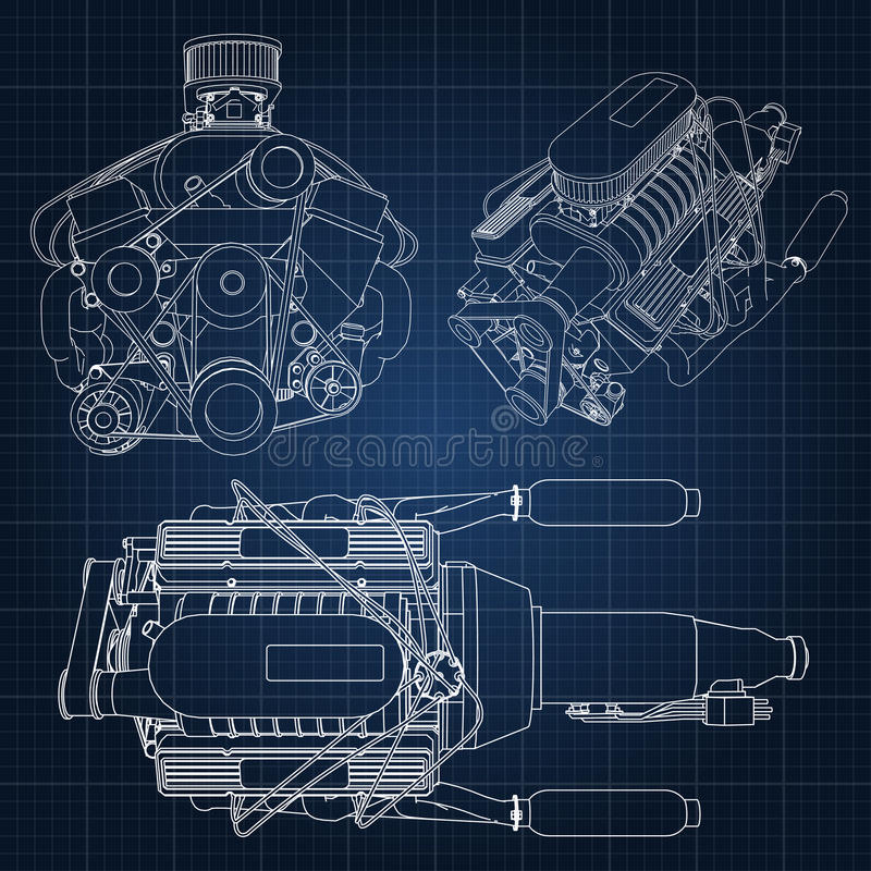 A set of several types of powerful car engine. The engine is drawn with white lines on a dark blue sheet in a cage.  vector illustration