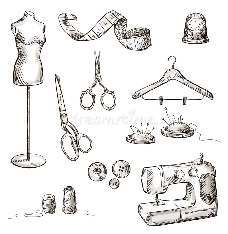 Download Set Of Sewing Accessories Drawings Stock Vector - Image: 36524867