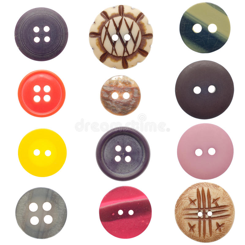 Set of sewing buttons. Various sewing buttons set isolated on white background stock photos