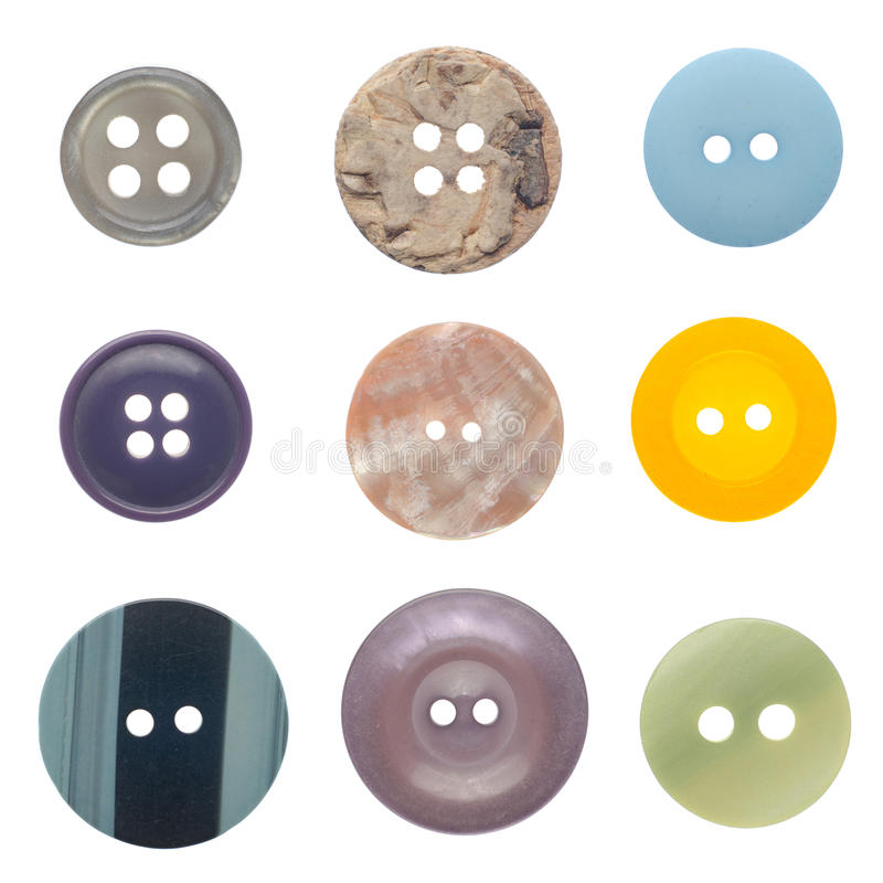 Set of sewing buttons. Various sewing buttons set isolated on white background royalty free stock image