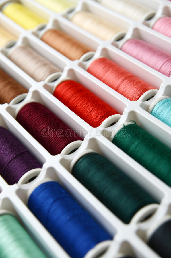 Set of sewing threads. Set of multicolored sewing threads stock photo
