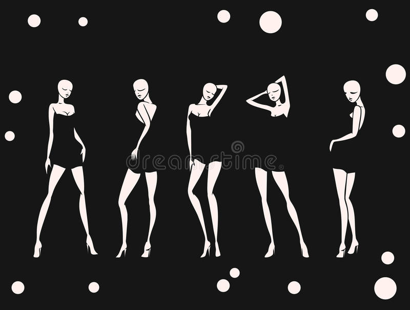 Set girl in dance circles background monochrome royalty free illustration
