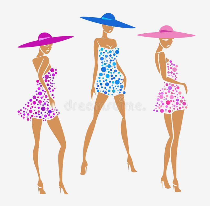 Set girl photo in a dress and big hat vector illustration