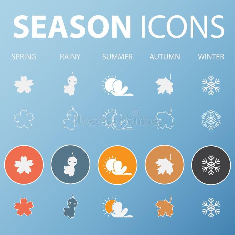 Set sezon ikony w płaskim projekta konturze, cieniu i długo wektor royalty ilustracja
