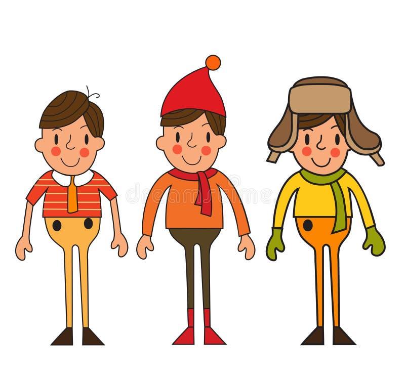 Set sezonowy odziewa dla chłopiec wektoru ilustraci ilustracji