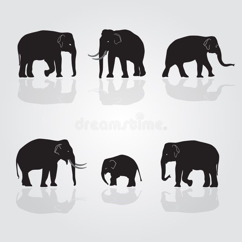 Set of shadow elephants. Eps10 stock illustration