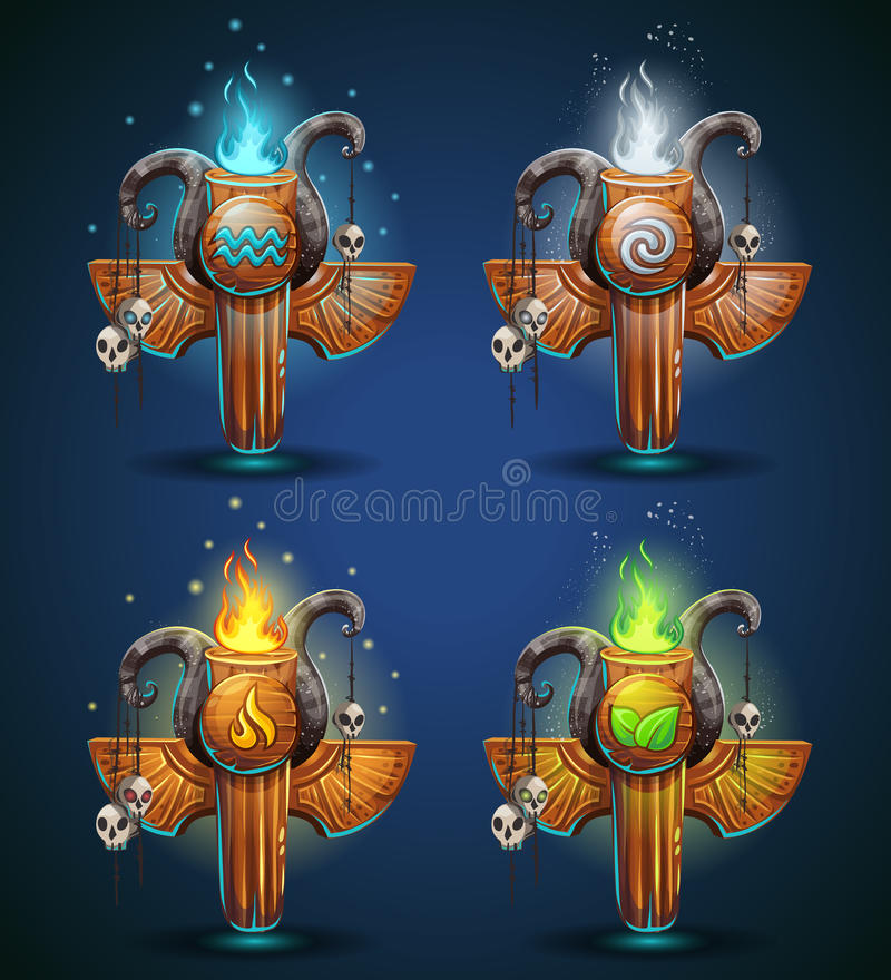 Set shaman totems - symbols of the four elements vector illustration