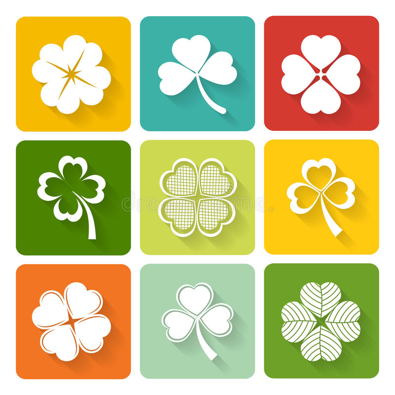 Set of shamrock and clover icons vector illustration