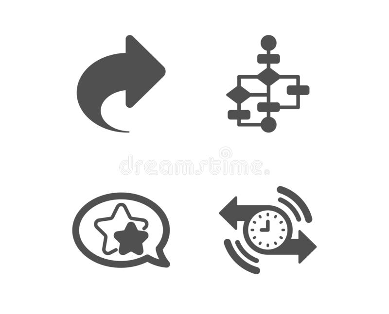Share, Star and Block diagram icons. Timer sign. Link, Favorite, Algorithm path. Stopwatch. Vector. Set of Share, Star and Block diagram icons. Timer sign. Link vector illustration