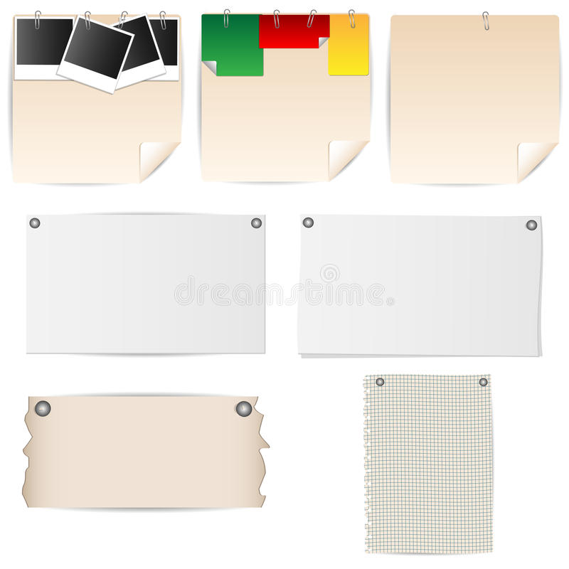 Set of sheets of paper stationery royalty free illustration