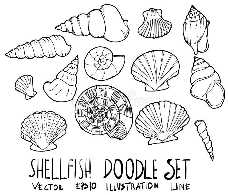 Set Shellfish doodle nakreślenia linii ilustracyjna ręka rysujący vect ilustracji
