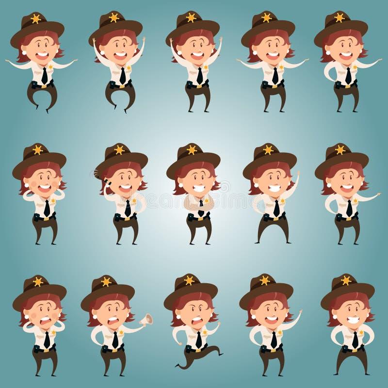 Set Sheriffe kobiet mieszkania ikony ilustracja wektor